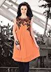 Designer Peach colour Georgette Printed kurti|Peach|L