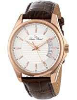 Lucien Piccard Men's 98660-RG-02S Excalibur Silver Textured Dial Brown Leather Watch