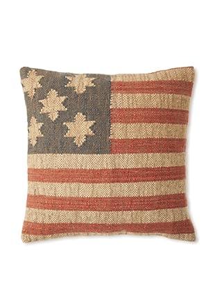 La Boheme Jute/Wool-Blend Flag Cushion, Natural/Multi, 19