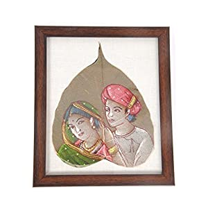 Creative Box Leaf Painting - Rural Couple On White Background