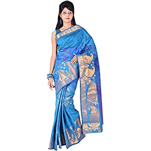 Indusdiva Blue Kora Silk Saree
