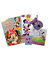 Minnie Mouse Holiday Set 5 Items: Merry And Brght Coloring Book, 24 Pc Tower Puzzle, Water Bottle, Coloring Puzzle, 8 Pack Of Crayons