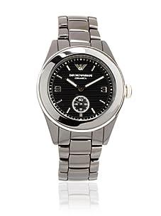 Emporio Armani Men's Black/Black Textured Ceramic Watch