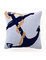 """Blue Anchor Hook Pillow 16x16"""", Poly Insert Incl."""