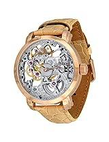 Ciemme Men's Luxury Skeleton Mechanical Manual Winding Ivory Leather Strap Wristwatch 3 ATM