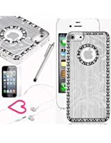 Pandamimi iphone 5 case - Deluxe Sliver Bling Diamond Rhinestone Aluminum Chrome Hard Case Cover for Apple iPhone 5 5G Screen Protector