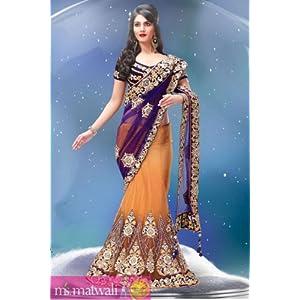 stylish blue lehenga embroidered saree