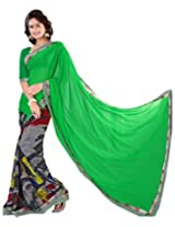 Surat Tex Green Chiffon Wear beautiful sarees with Unstitched Blouse