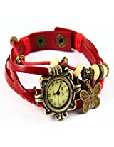 Vintage Collection Red Bracelet Butterfly Women Wrist Watch