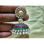 Multi Plastic Base Metal Pearl Fashion Jhumki Earring