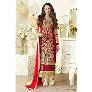 Bollywood Karishma Kapoor Georgette Straight Suit In Maroon and Beige Colour 5103