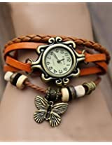 Elegant Orange Leather Vintage Butterfly Bracelet Watch