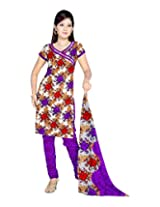 Sonal Trendz Women's Polyester Purple Printed Dress Material