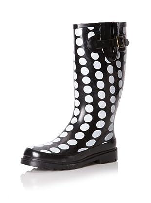 Chooka Women's Marine Dots Knee-High Rain Boot (Black)
