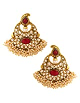 Voylla Festive Earrings With Pearls And Red Colored Stone