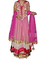 Ninecolours Bollywood Style Hina Khan Net and Velvet Suit In Pink Colour NC1288