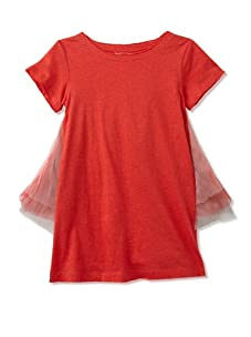 kicokids Girl's Tulle Over Jersey Butterfly Ruffle Dress (Ladybug)