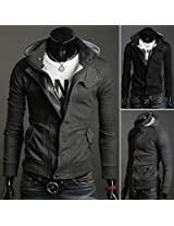 HOT Mens Long Slim Fit Sexy Top Designed Hoodies Stylish Jacket Coat Top 2 Color