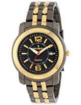Peugeot Men's 1019G Gold and Black Tone Bracelet Watch