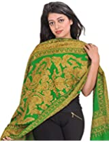 Exotic India Stole from Kashmir with Ari-Embroidered Paisleys by Hand - Color Mint GreenColor Free Size