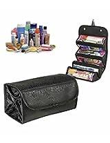 Everyday Desire Roll N Go Travel Buddy Cosmetic Toiletry Shaving Jewelry Bag Organizer - Black