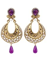 Hyderabadi Abhushan earrings with gold and purple color
