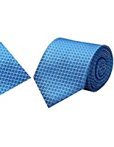 Navaksha Blue Squares Micro Fiber Tie With Pocket Squares
