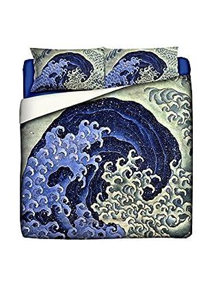 Tele d'autore by MANIFATTURE COTONIERE Juego De Funda Nórdica Katsushika Hokusai-Feminine Wave