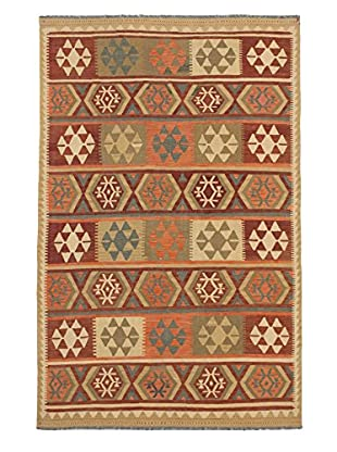 Hand Woven Hereke Wool Kilim, Cream/Dark Orange/Red, 6' 6