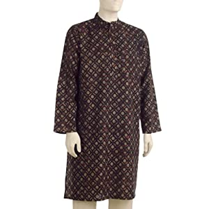 Fabindia Mens Cotton Printed Long Kurta|42|Maroon