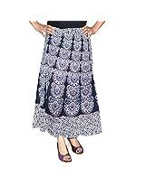 Marusthali Women's Cotton Wrap Skirt (Mwsl00073 _White _Large)