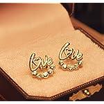 Aachiz Cute Love Word Style Golden Crystal Stud Earrings