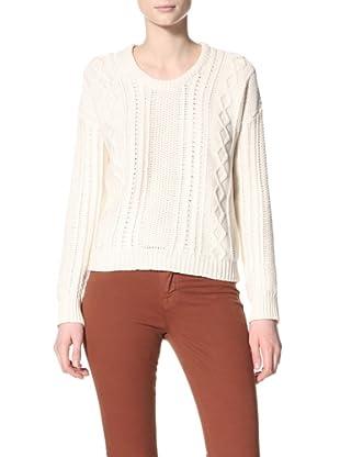 Acrobat Women's Crop Fisherman Cable Pullover Sweater (Cream)