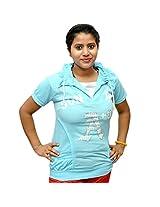 Odishabazaar Women's Cotton Blue T-shirt S