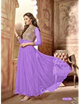 Rozdeal Women Net Embroidered Unstitched 3/4 Sleeve Light Purple Anarkali Suit
