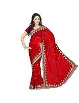 Chandra Silk Mills Triangular Embellished Border Fancy Maroon Wedding Saree