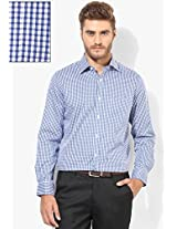 Blue Checked Regular Fit Formal Shirt Arrow
