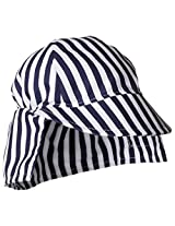 Flap Happy Baby Boys' UPF 50+ Original Microfiber Flap Hat, Navy Stripe, X Small
