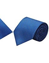 Navaksha Blue Micro Fibre Tie with Pocket Square