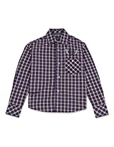 Full Sleeve Boys Check Shirt With Contrast Buttons Violet