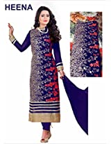 Clickedia Beautiful straight cut with embroidered Blue & red churidaar Salwaar Suit