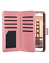 ULAK S5 Case [Wallet Design] Flip Premium Synthetic Leather Cover with Built-in 9 Card Slots Case For Samsung Galaxy S5 / Galaxy SV / Galaxy S V (Coral Pink)
