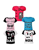 Goodway Junior Girls 5 Pack Mom & Dad Themed Combo Pack of 5 T-Shirts - 5-6 Years