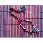 Multi Fabric Oxidised Silver Fashion Necklace
