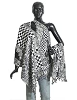 DollsofIndia Black and White Cotton Stole with Check and Paisley Design - Cotton - White, Black