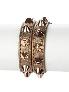 Rebecca Minkoff Grey Bronze Double-Wrap Pointy Stud Bracelet