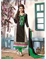 New Fashion Designer Attractive Black And Green Salwar Suit