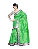 Bollywood Green Wedding Wear Indian Bhagalpuri Silk Saree-Flower Print Design On Blouse Borders