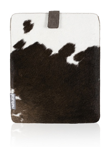 Natural iPad Cowhide Case (Chocolate & White)