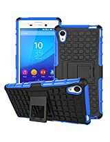 DEFENDER Hard Armor Hybrid Rubber Bumper Flip Stand Rugged Back Case Cover For Sony Xperia M4 Aqua - BLUE